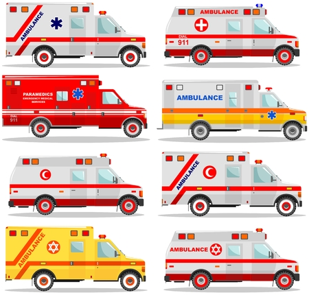 Medical concept. Different kind jewish, muslim, american, european car ambulances isolated on white background in flat style. Vector illustration. Illustration
