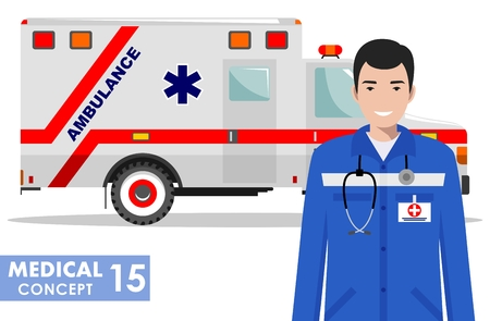 Medical concept. Detailed illustration of emergency doctor man and ambulance car in flat style on white background. Vector illustration.