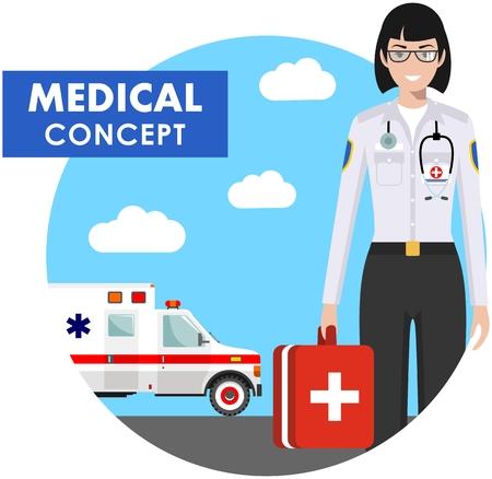 医療コンセプト。フラット スタイルで救急車車で背景に制服で救急医師女性の詳細なイラスト。ベクトルの図。