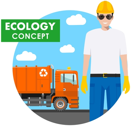 Ecology concept. Detailed illustration of garbage man and garbage truck on blue background in flat style. Vector illustration. Illustration