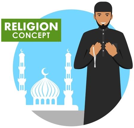 기도 시간. 종교 개념입니다. 손에 구슬과 회교도 사람기도 배경에 서기도 모스크와 대성당의 실루엣입니다. 아랍 사람기도. 벡터 일러스트 레이 션.
