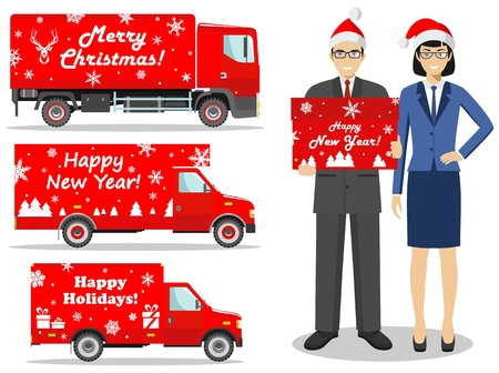 Christmas and New Year delivery. Set of detailed illustration of delivery red trucks and deliveryman hold the box in flat style. Businessmen and businesswomen standing together. Vector illustration.