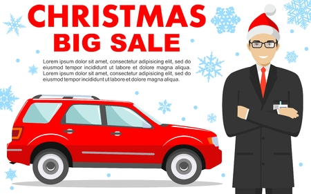 Car showroom. Christmas and New Year big sale. Manager in the Santa Claus hat sells new automobile. Detailed illustration of businessman and red auto on background of snowflakes in flat style. Vector.