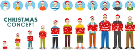 Christmas and New Year concept. People generations at different ages hold the box in the Santa Claus hat. Man aging: baby, child, teenager, adult, old people. Different characters avatars icons set. Illustration