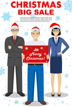 Christmas and New Year big sale. Detailed illustration of salesman hold the box in hands, businesswoman and businessman standing together. People in the Santa Claus hat on the background of snowflakes