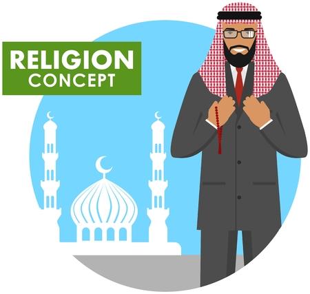 손에 구슬 가진 이슬람 남자기도하십시오. 모스크와 대성당의 배경 실루엣에 서있는 이슬람 사람. 벡터 일러스트 레이 션.