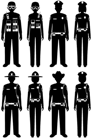 Police People Concept. Set Of Different Silhouettes Of SWAT Officer ...