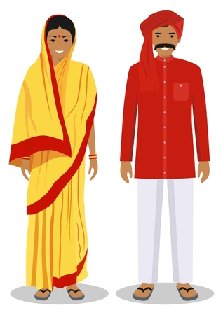 Set of standing together Indian man and woman in the traditional clothing isolated on white background in flat style. Differences people in the east dress.