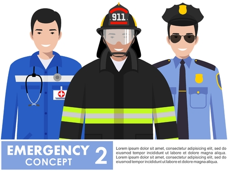 Detailed illustration of fireman, emergency doctor, police officer standing together in flat style on white background.