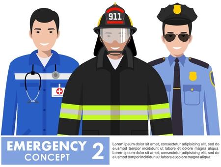 緊急の概念。白い背景に平らなスタイルで一緒に立っている消防士、医師や警官の詳細なイラスト。ベクトルイラスト。