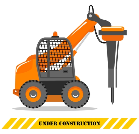 Detailed illustration of excavator with hammer