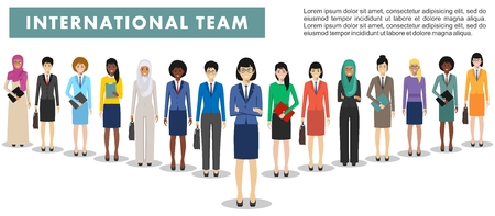 Group of business women standing together on white background in flat style.  Flat design people characters.