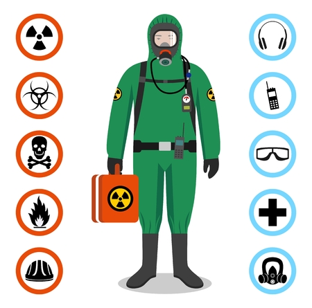 Man in green protective suit in flat style. Dangerous profession. Occupational safety and health vector icons.
