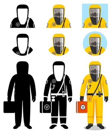 Industry concept. Illustration of worker in protective suit.