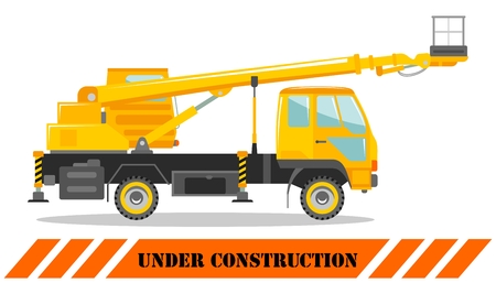 Aerial platform truck. Heavy construction machine. Building machinery. Special equipment. Vector illustration.