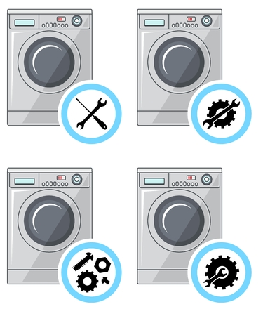 Repair service concept. Simple icons set: wrench, screwdriver, hammer and gear. Иллюстрация