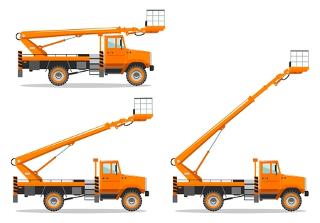 Aerial platform truck with different boom position. Heavy construction machine. Building machinery. Special equipment. Vector illustration. 矢量图像