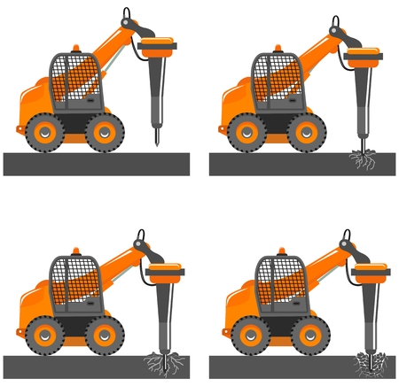 Detailed illustration of car with hammer. Mini excavator with different boom position destroys the asphalt, road, soil, rock. Hydraulic crusher. Heavy construction machine. Special building machinery
