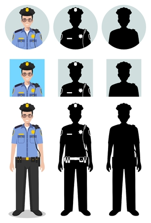 Police people concept. Detailed illustration, policeman and sheriff in flat style on white background. Differences people characters avatars icons. Vector.