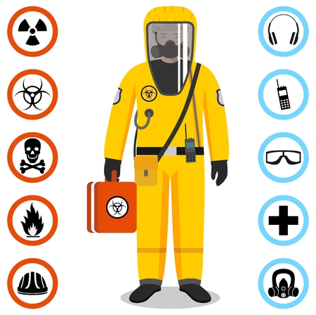 Man in yellow protective suit in flat style. Dangerous profession. Occupational safety and health vector icons. Set of different signs of chemical, radioactive, toxic, poisonous, hazardous substances. Vector illustration. Banque d'images