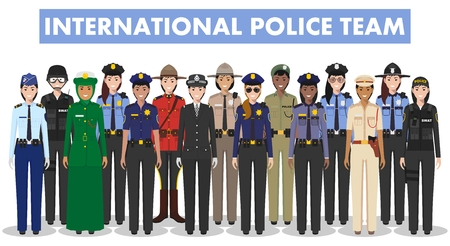 International police team. Detailed illustration of police different countries in flat style on white background. 向量圖像