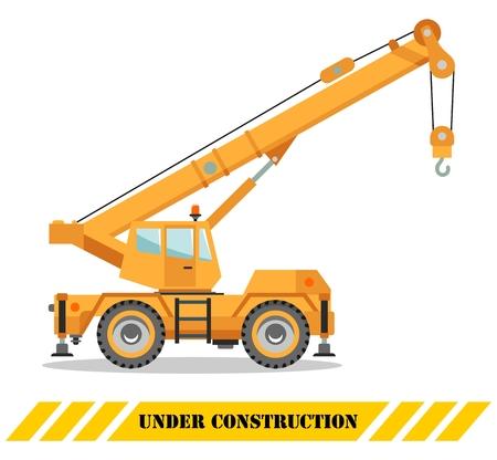 Illustration détaillée du camion-grue de couleur, de l'équipement lourd et des machines. Illustration vectorielle.