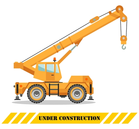 Detailed illustration of colored crane truck, heavy equipment and machinery. Vector illustration. Vectores