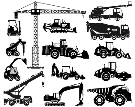 Building machineries and equipments. Vector illustration Vectores