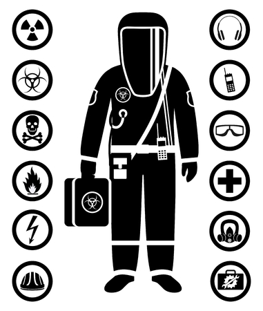Worker on a protective suit. Safety and health vector icons.