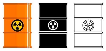 Set of different barrels with hazardous substances. Vector illustration. Ilustração