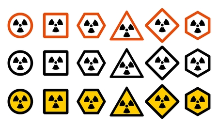 Industry concept. Set of different radiation hazard signs for your web site design. Dangerous area Icons.