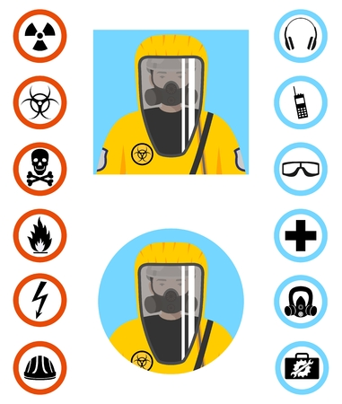 Man in protective suit in flat style. Dangerous profession.