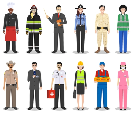 People occupation characters set in flat style isolated on white background. Flat vector icons on white background. Templates for infographic, sites, banners, social networks. Vector illustration.