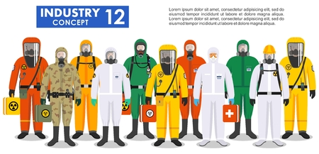 Group different workers in differences protective suits standing together in row on white background in flat style. Dangerous profession. Vector illustration. Vettoriali