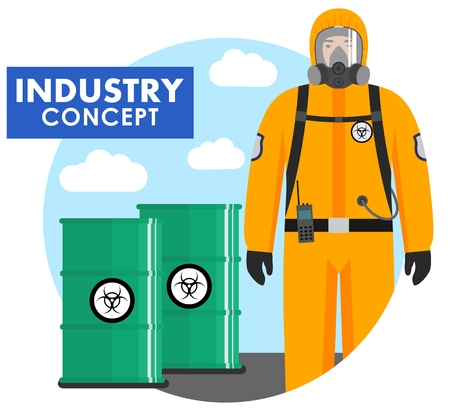 Detailed illustration of of barrels with chemical, radioactive, toxic, hazardous substances and worker in protective suit in flat style. Vector illustration. Ilustração