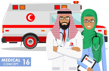 Detailed illustration muslim car ambulance and arabian paramedic man, emergency doctor, nurse in a flat style on a white background. Vector illustration. Vectores