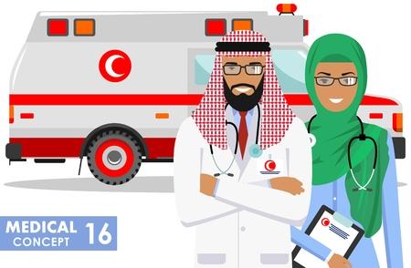 Detailed illustration muslim car ambulance and arabian paramedic man, emergency doctor, nurse in a flat style on a white background. Vector illustration. Illustration