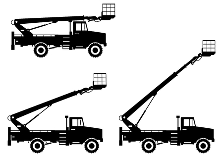 Silhouette of aerial platform truck with different boom position. Heavy construction machine vector illustration.
