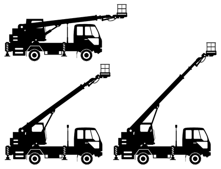 Silhouette of aerial platform truck with different boom position. Heavy construction machine. Building machinery vector illustration.