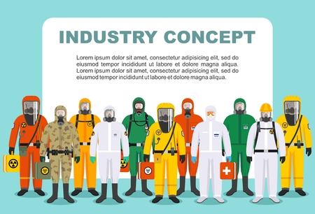Chemical industry concept. Group different workers in differences protective suits standing together in row in flat style. Dangerous profession. Vector illustration.