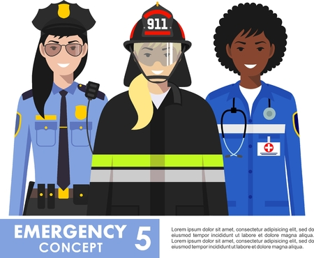 Emergency concept. Detailed illustration of female firefighter, doctor and policeman in flat style on white background Vector illustration. Illustration