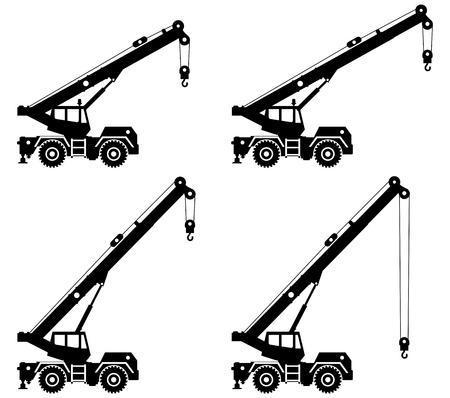 Schattenbild des Kranlastwagens mit unterschiedlicher Auslegerposition. Vektorgrafik