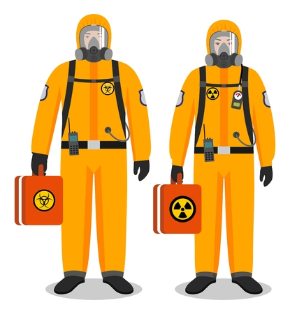 Chemical industry concept. Couple of workers man and woman in yellow protective suits standing together on white background in flat style. Dangerous profession. Vector illustration.