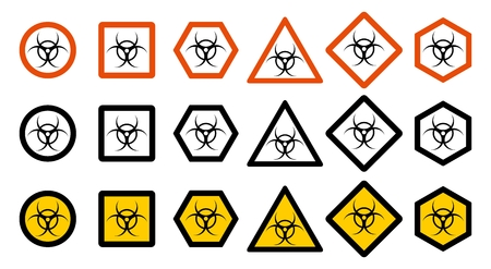 Set of different toxic hazard signs on a white background