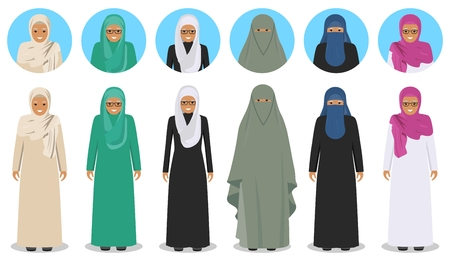 Set of different standing arab old women in the traditional muslim arabic clothing in flat style. Muslim, arabic clothing, east arabian dress. Differences islamic people characters avatars icons. Standard-Bild - 100392875