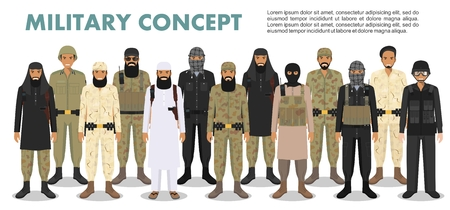 Military concept. Set of different detailed illustration of arab muslim soldiers in camouflage uniforms standing in together in flat style on white background. Vector illustration.
