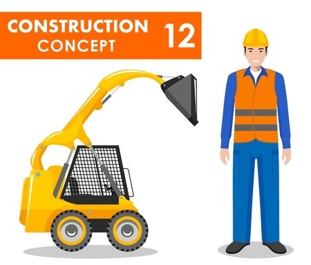 Detailed illustration of skid steer loader and worker, builder, driver in flat style on white background. Heavy construction equipment and machinery.