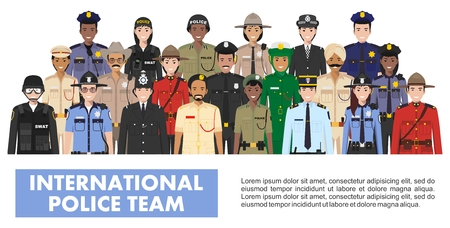 Equipo policial internacional. Ilustración detallada de la policía de diferentes países en estilo plano sobre fondo blanco.