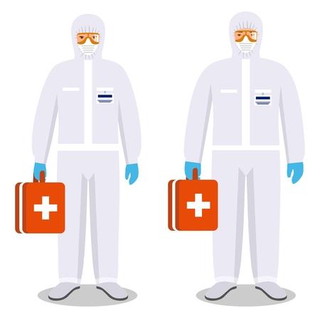 Ilustración detallada de hombre y mujer en trajes de protección sobre fondo blanco en estilo plano. Profesión peligrosa. Virus, infección, epidemia, cuarentena. Ilustración vectorial.