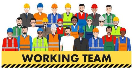Group of working people isolated on white background. Set of diverse worker, builder and engineer standing together in a row in uniform. Different nationalities and dress styles, cute and simple in flat style.